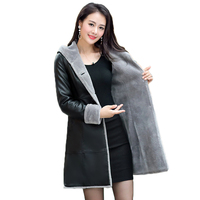 L 7XL Lagr size Women outwear winter leather jacket Plus velvet thick warm overcoat fashion wool liner sheep leather coat ER77