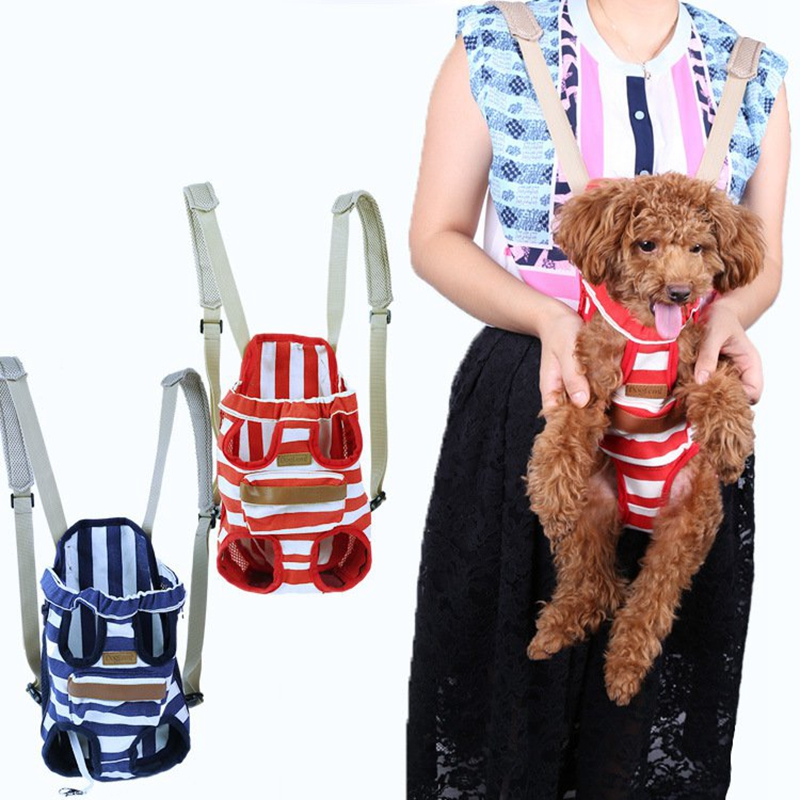 High Quality Red Blue Shoulders & Backpack Pets Carrier Bag for Pet Dogs and Cats Stripe Dog Bag Travel Carriers