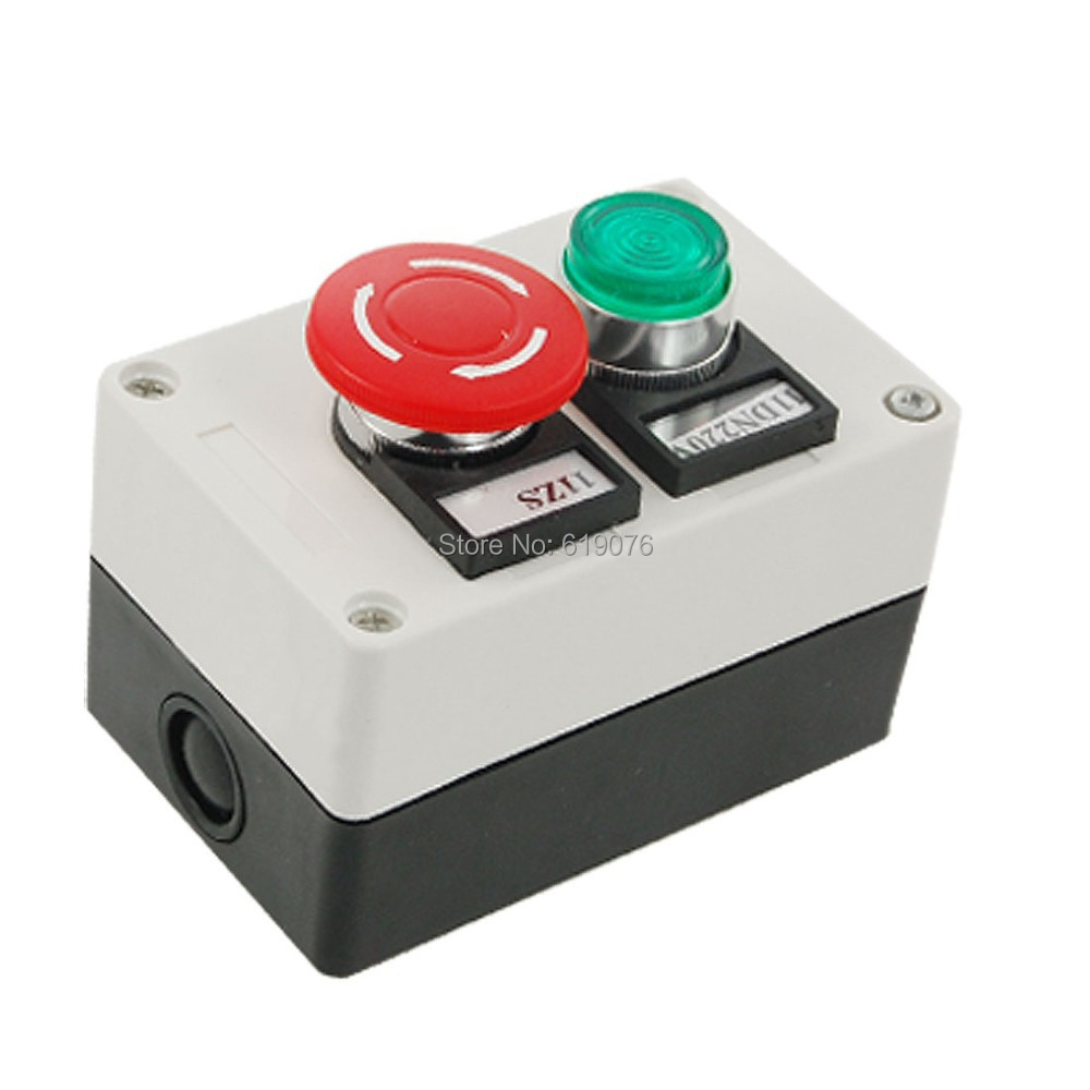AC 220V Green Indicator Self Locking Switch Rotary Push Button Station