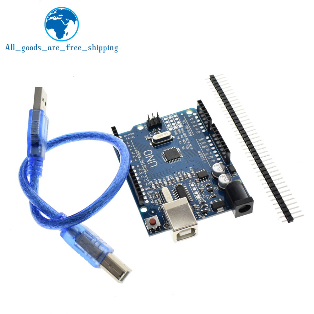 TZT  high quality One set UNO R3 (CH340G) MEGA328P for Arduino  UNO R3  ATMEGA328P-AU Development board