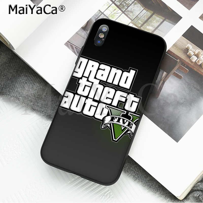 MaiYaCa rockstar gta 5 แกรนด์ Theft ใหม่มาถึงโทรศัพท์มือถือสีดำสำหรับ iphone ของ Apple iphone 8 7 6 6S plus X XS MAX 5 5S SE XR ฝาครอบ