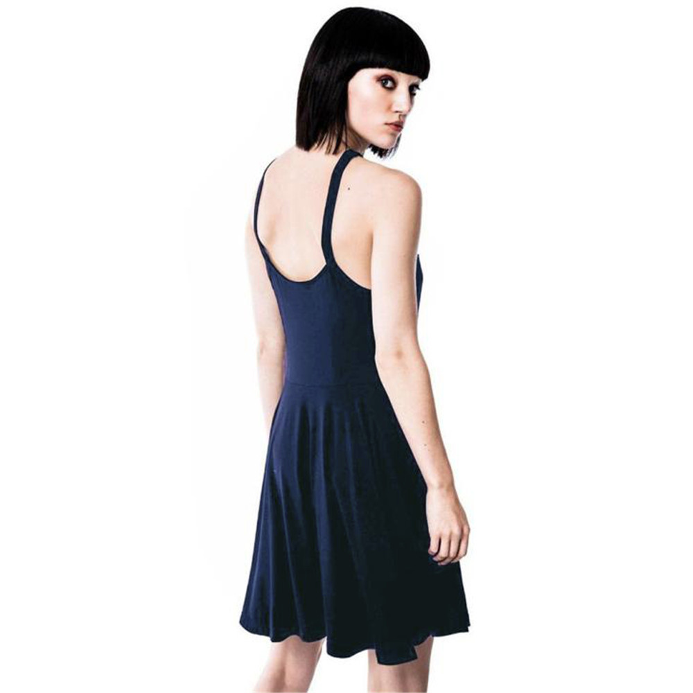 Gothic Dress Women New Personality Design Sexy Soild Bandage Pentacle Strapless Backless Collar Skate summer Party Mini Dress  1