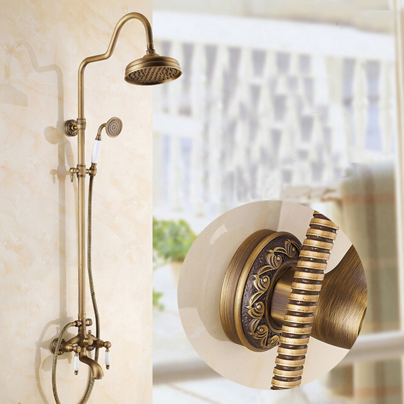 Luxury Wholesale And Retail Promotion Luxury Antique Brass Embossed Rain Shower Faucet Set Tub Mixer Tap