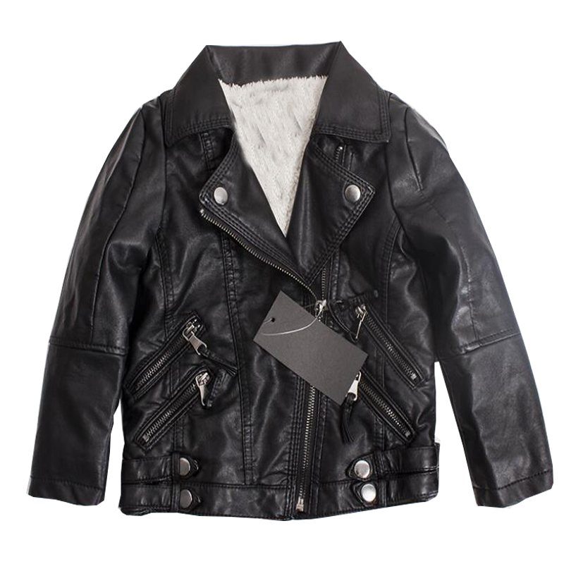 Winter Kids PU Leather Suede Outerwear Coats School Boys Girls Motorcycle Biker Black Jackets Winter Children Clothing