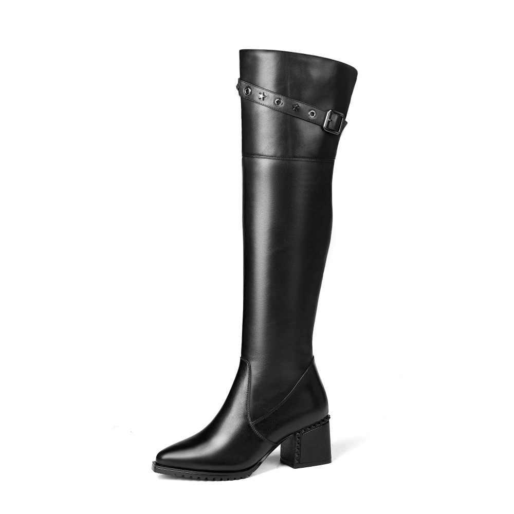 Lenkisen из коровьей кожи Большие размеры Модная толстом каблуке с квадратным носком на среднем каблуке застежка металлический ковбойские ботинки на молнии в европейском стиле женские ботинки L35