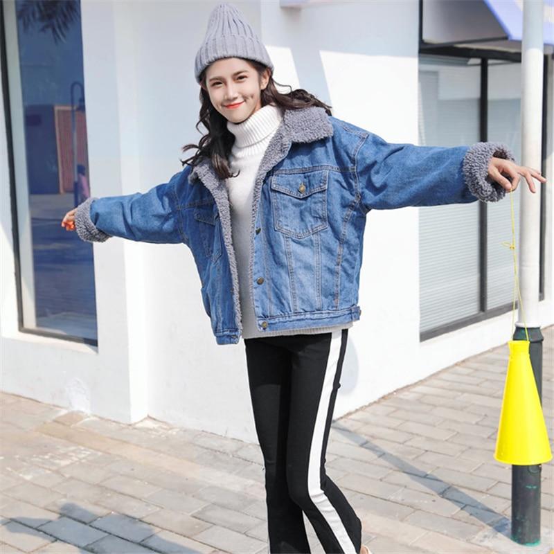 H186 Neuf Courte Femme 2018 Vêtements Veste Cheveux D'hiver Lâche Qualité Longues Coton Color Manches Photo Agneau Denim Revers Mode Manteau De Haute Hwq7w8Cx