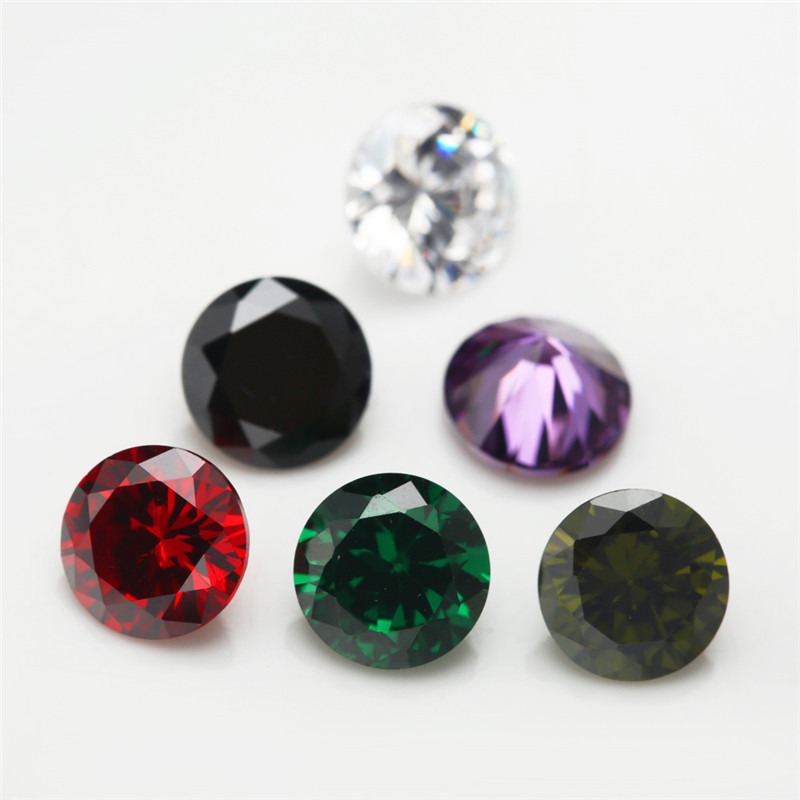 1PCS Per Colors Total 15pcs Size 4mm 10mm Round Shape Loose Cubic Zirconia Stone CZ in Beads from Jewelry Accessories