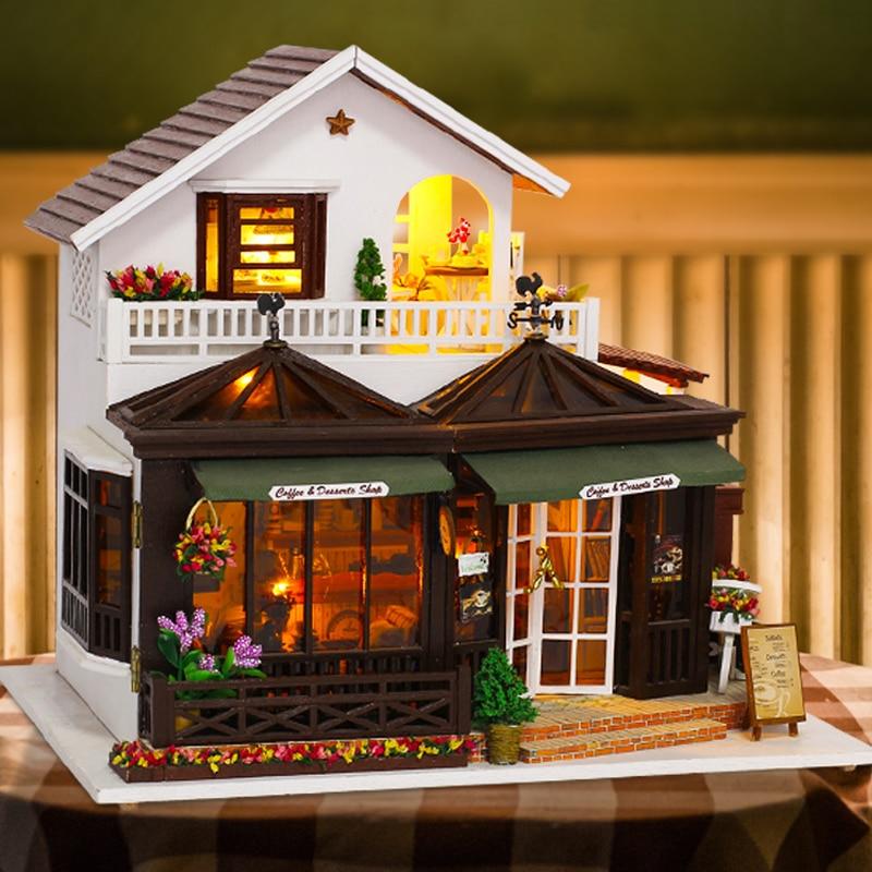 CUTEBEE DIY Dollhouse Wooden doll Houses Miniature Doll House Furniture Kit Casa Music Led Toys for Children Birthday Gift K21