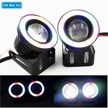 Фотография New 2Pcs/Set LED Colorful COB Fog Angel Eyes Light 64/76/89mm 2.5/3/3.5Inch Waterproof Car Styling DRL Daytime Running HeadLight