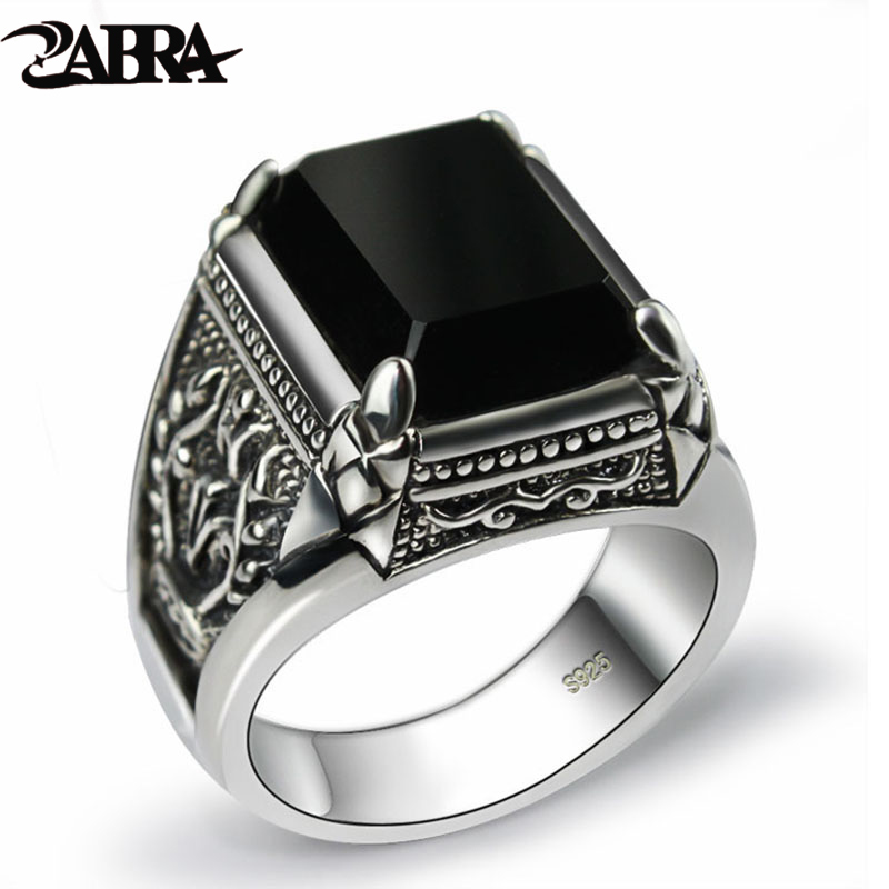 все цены на ZABRA Real 925 Silver Black Zircon Ring For Men Female Engraved Flower Men Fashion Sterling Thai Silver Jewelry Synthetic Onyx