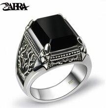 ZABRA настоящее кольцо из серебра 925 пробы с черным Цирконом для мужчин Женский Выгравированный цветок Мужская мода Стерлинговое Серебро тайское серебро ювелирные изделия синтетический оникс