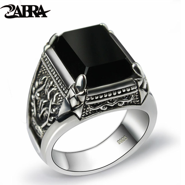 ZABRA Real 925 Silver Black Zircon Ring For Men Female Engraved Flower Men Fashi