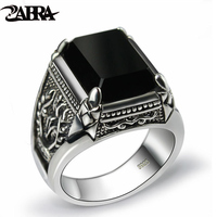 ZABRA Real 925 Silver Black Zircon Ring For Men Female Engraved Flower Men Fashion Sterling Thai Silver Jewelry Synthetic Onyx
