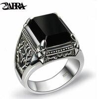 Zabra реальные 925 серебристый, черный циркон кольцо для Для мужчин женские выгравированы цветок Для мужчин Мода Стерлингов тайский Серебряные...
