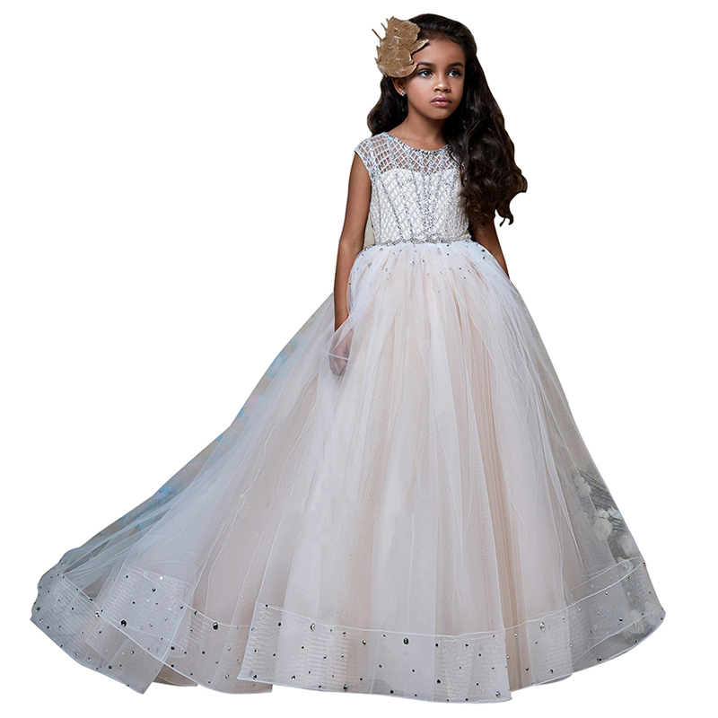 Ball gown little girls dresses beaded long kids prom party dress for girls fantasia infantil para menina long flower girl dress