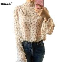 Frauen Rollkragen Shirts Sexy Chiffon Tops Bluse Blusas Femininas Langarm Blume Gedruckt Vintage Plus Größe Frauen Bluse