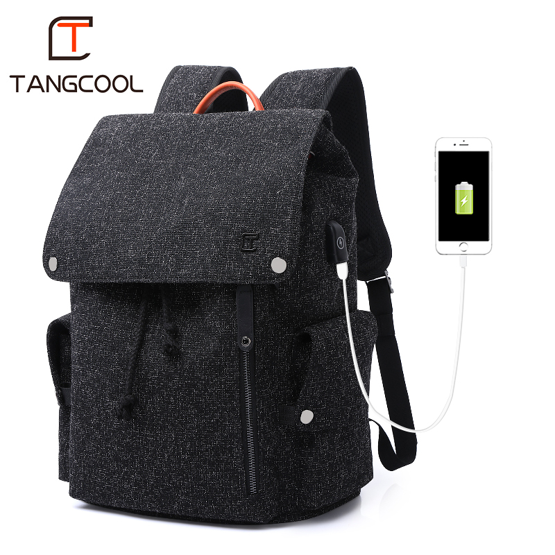 Tangcool Men Backpack For 15 6 inches Laptop USB Backpack Large Capacity Fashion Stundet Backpack Water