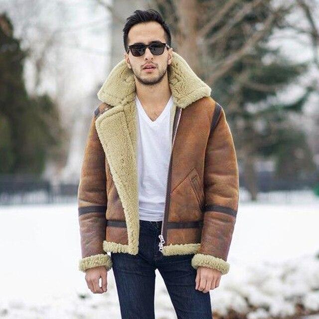 Prawdziwe futro z owczej skóry latający płaszcz oryginalna kurtka z owczą wełną mężczyzna zimowa kurtka lotnicza brązowy mężczyzna futrzany płaszcz bardzo duża wielkość