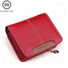 Fashion brief genuine leather women's wallet cowhide short design cute small bag money clip,free shipping