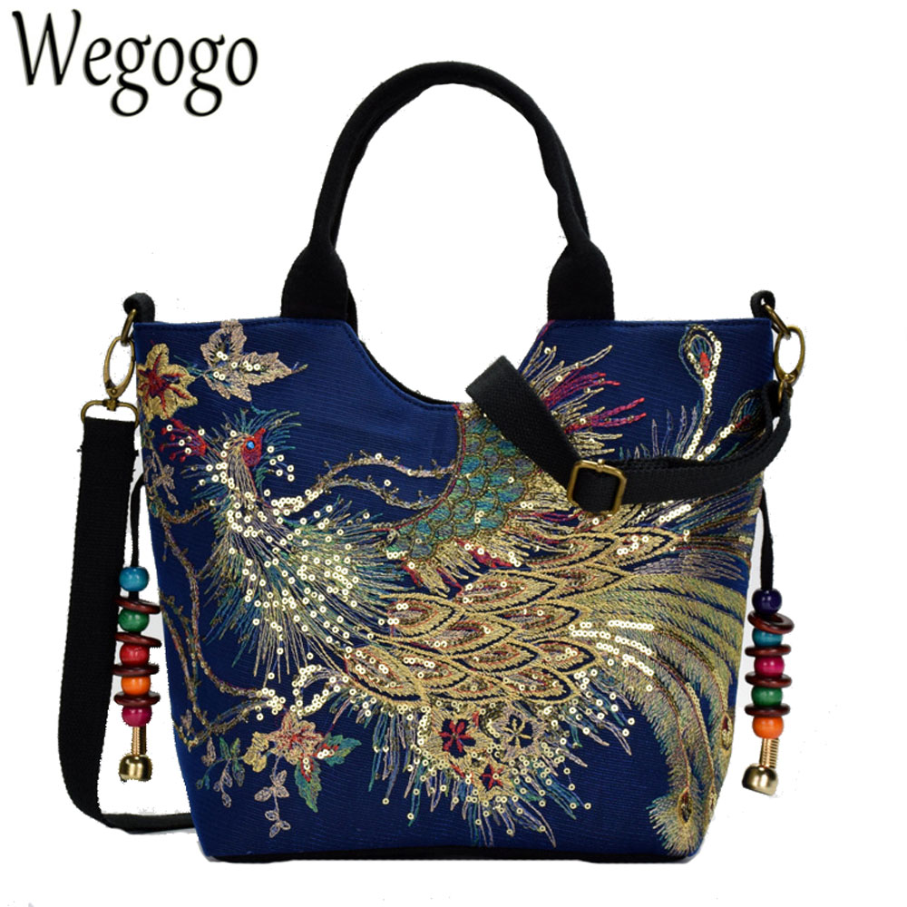 Shiny Sequins Peacock Embroidered Women Canvas Totes Bag Summer Shopping Shoulder Messenger Bags Vintage Beaded String Handbag