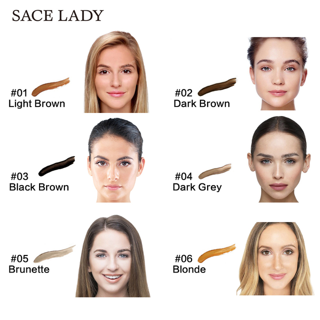 SACE LADY 6 Colors Henna Eyebrow Gel Waterproof Tint Makeup Brush Set Brown Enhancer Eye Brow Dye Cream Make Up Paint Cosmetic 4