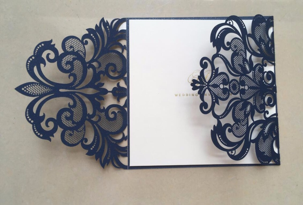 Dark Blue Wedding Invitations: Dark Blue Laser Cut Lace Wedding Invitations Card