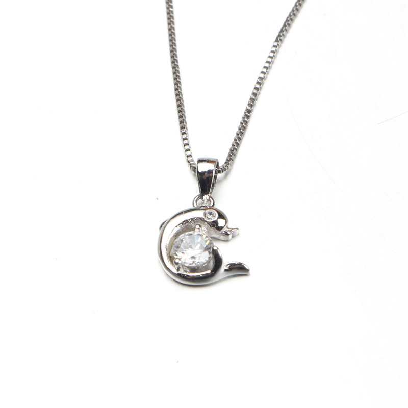 925 Silver Necklace Short Dolphin Pendant Valentine's Day Gift Accessories VN05
