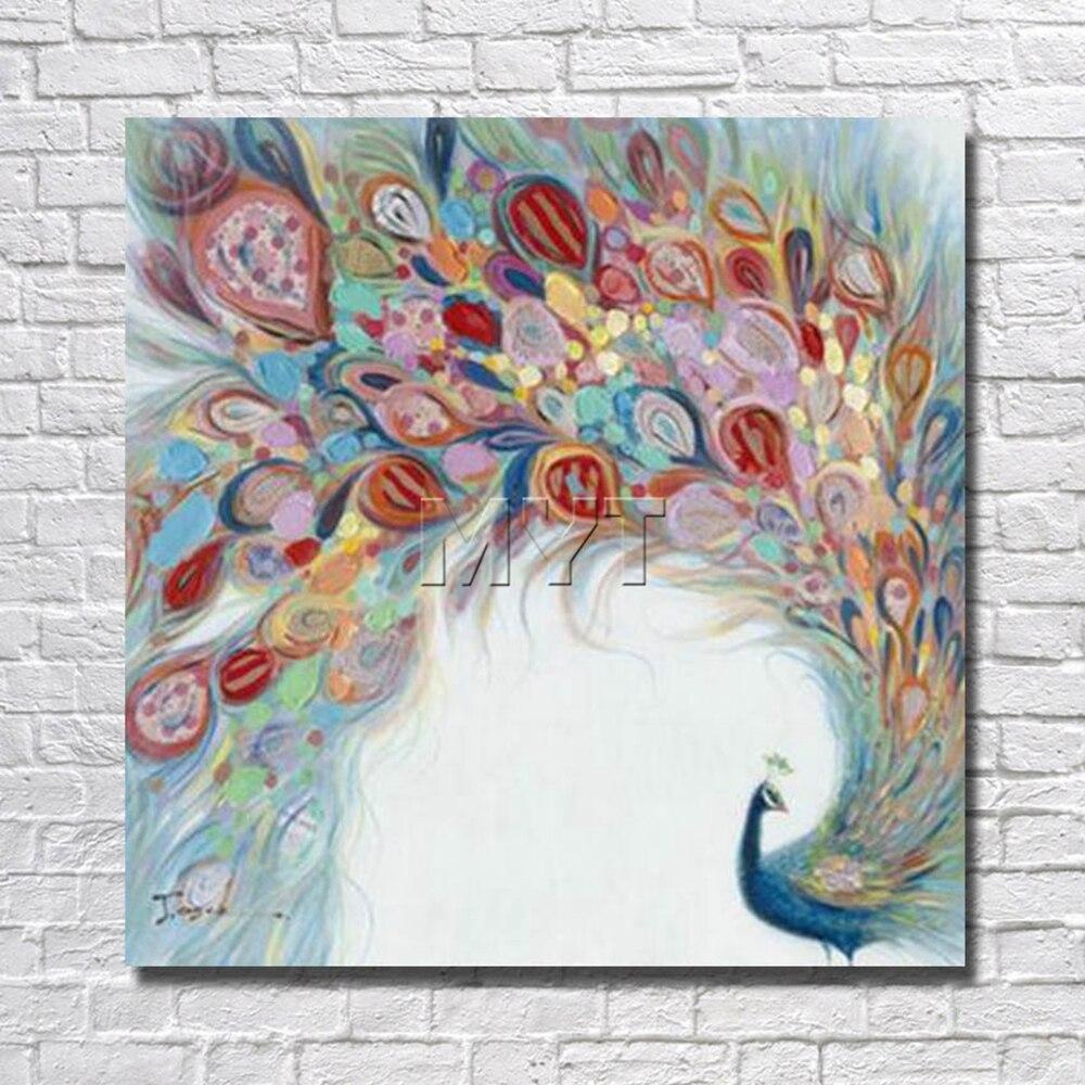 Belle plume de paon peinture à l'huile décor à la maison salon décor photos avec peinture encadrée pour accrocher mur toile Art