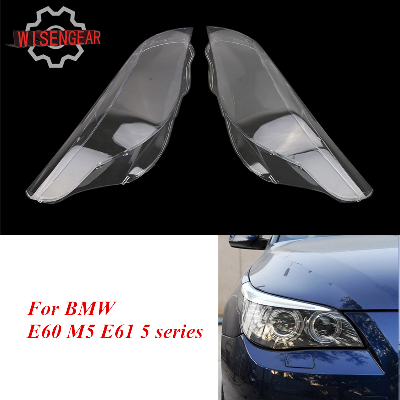 Replaces Car Headlight Lens Front Head Lamp Cover For BMW E60 M5 E61 5 Series 525i 530i 528i 535i 540i 550i 545i N001 2pcs right left fog light lamp for b mw e39 5 series 528i 540i 535i 1997 2000 e36 z3 2001 63178360575 63178360576