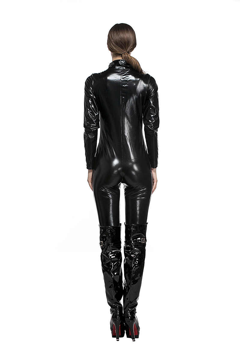 2468b1dc9a66 ... Adult Women Halloween Police Costume Latex Steampunk Black Wetlook  Catsuit Zip Outfit Fancy Club Clothes For ...