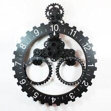 1เซ็ต4สี25นิ้วการออกแบบที่ทันสมัยสีดำขนาดใหญ่เกียร์นาฬิกาแขวนกับปฏิทินสำหรับห้องนั่งเล่นตกแต่งผนัง