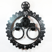 1 set 4 Colors 25 Inch Modern Design Big Black Gear Wall Clock With Calendar For Living Room Wall Decoration