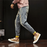 2019 Men's Summer New Casual Fashion Urban Hole Jeans Men's Feet Pants Slim Patch Patch Trend Wash Micro elastic Trousers
