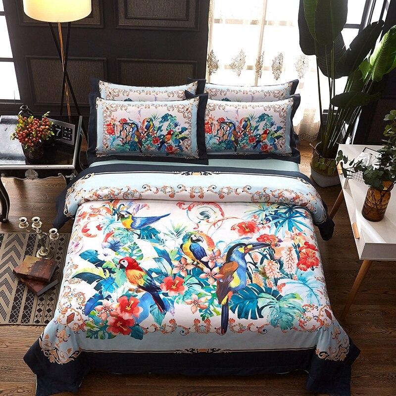 Permalink to bedding set Queen King blue flower bed linens 4pcs/set duvet cover set Bohemia style bed sheet AB side duvet cover 2018 bed