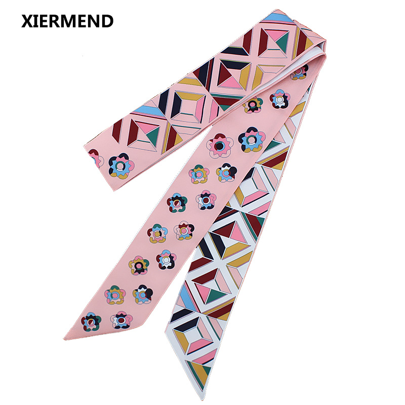 120cm*5 Scarf Extended Autumn And Winter Print Scarf Fashion Tie Ribbon Hair Band Head Skinny Scarves