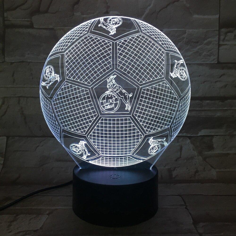 Подарки на Рождество USB 3D ночник Футбол клуб светодиодный сенсорный лампы Футбол ночник 3D видимого света Luminaria Футбол светильник FC кельн