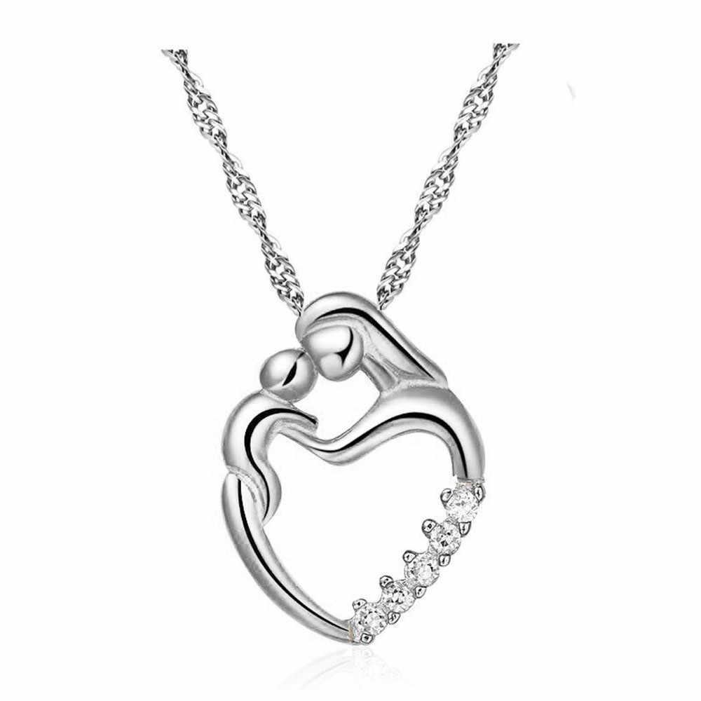 Moms Jewelry Birthday Gift For Mother Baby Heart Charm Pendant Mom Daughter Son Child Love Mosaic