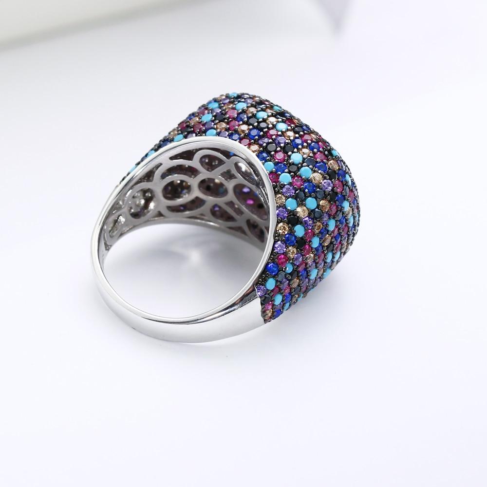 Réel 925 bague en argent sterling magnifique multi zircon coloré cristal de luxe bijoux en argent 925 bagues femmes pour la fête - 4