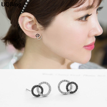 2016 Fashion Double Circle Round 925 Sterling Silver Stud Earrings Jewelry Pendientes Brincos Fashion Jewelry
