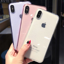 Fashion Simple Transparent Bling Glitter Crystal Case For iPhone 6 6S 7 8 Plus Silicone Matte X XS MAX XR Cover