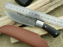 Handmade Damascus Steel Straight Knife Ebony Handle Pattern Multifunctional Outdoor Survival Utility Fixed Blade Knife Holster