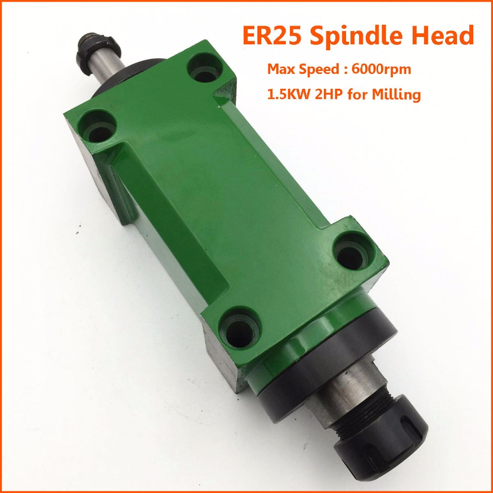 80mm ER25 Milling Spindle Power Head 1.5KW 2HP Milling Spindle Head Unit 6000rpm Max Speed CNC Milling Machine hsk63a er25 100l high speed automatic tool change device spindle cnc milling machine tool
