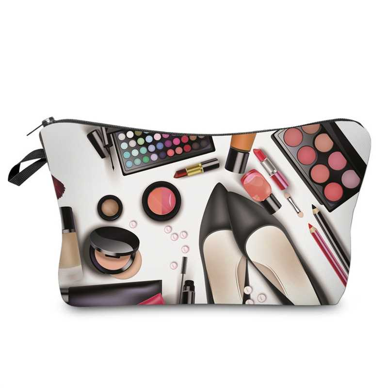 Dropshippi Women Lady Travel Cosmetics Bags Zipped 3D Shoes Eyeshadow Lipstick Printing Organizer Pouch Storage Makeup Bag Gifts SMJ