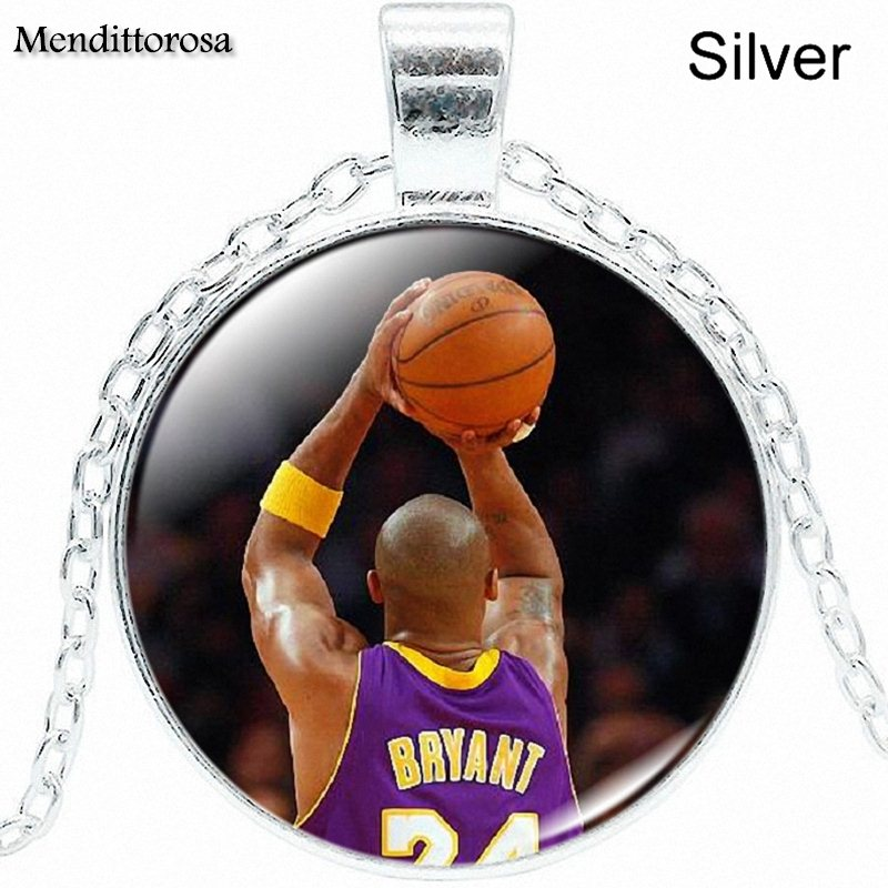 Necklace Glass Cabochon Jewelry Silver Color Choker Long Necklace For Women Party Gift Russell Westbrook Vince Carter Kerry