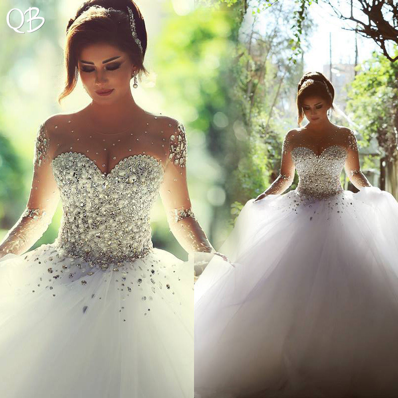 Beautiful Princess Wedding Gowns: Customize Ball Gown Long Sleeve Crystal Diamond Pearls