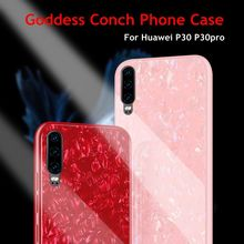 Bling Glitter Conch Shell Glass Case For Huawei Honor P30 Plus P20 Pro 8X 9 Play Mate 20 Lite Nova 3 3i Silicone Back Cover Case