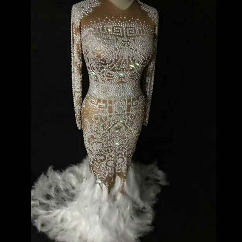f5de7d9a Sparkly Rhinestones Feather Nude Dress Women Sexy Nightclub Full Stones  Long Dress Costume Prom Birthday Celebrate