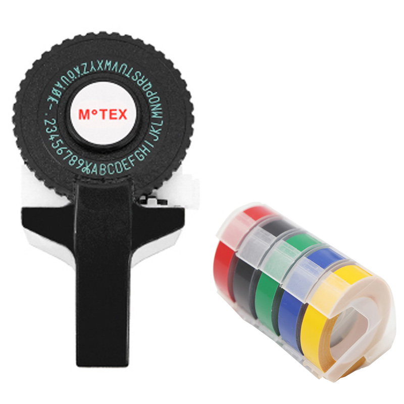Cor preta motex e101 impressora mini diy mão compatível para dymo 3d gravação manual máquina de escrever