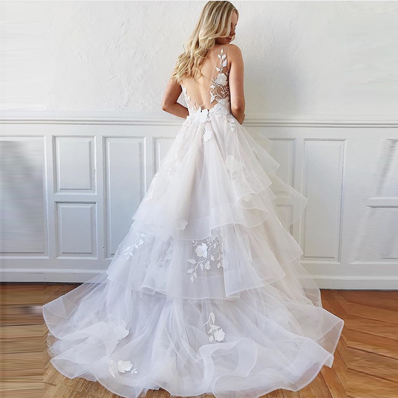 New Illusion Vestido De Noiva Deep V-neck Sexy Backless Sleeveless Tiered Tulle Skirt Bridal Gowns White Ivory Wedding Dresses Online Shop Back To Search Resultsweddings & Events