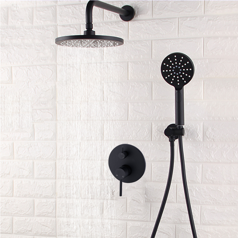 Wall Mounted Rainfall 8 Shower Panel Dual Handle Bathroom Shower Faucet System With Handheld Shower Bathroom Fixtures
